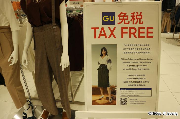 Gu Jepang Tax free